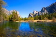 Yosemite Merced River el Capitan and Half Dome. In California National Parks US Royalty Free Stock Photo