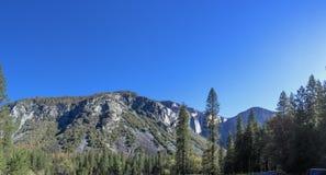 Yosemite - Mountain and Bridal Veil Fall. Bridal Veil Fall viewed from afar Yosemite National Park, California Royalty Free Stock Photo