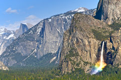 Yosemite National Park. Lies in the heart of California. With its 'hanging' valleys, many waterfalls, cirque lakes, polished domes, moraines and U-shaped