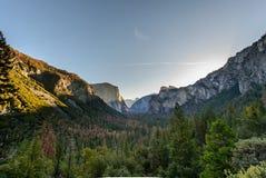 Yosemite national park in California america. HDR Yosemite national park tunnel view Royalty Free Stock Photography