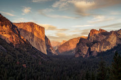 Yosemite National Park, California. Shot from Tunnel view during sunset royalty free stock photos