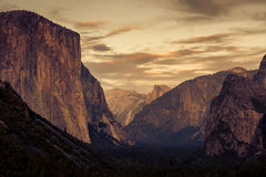Yosemite National Park, California. Tunnel view from Yosemite during sunset, California stock image