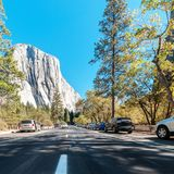 View to El Capitan from the road in Yosemite National Park Royalty Free Stock Image