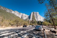 View to El Capitan rock in Yosemite from the road underneath Stock Photo