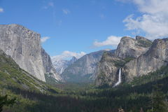 Yosemite National Park, California- USA. The valley of the Yosemite National park with the view of The Captain mountain and the Half Dome is a must if you travel Stock Photography