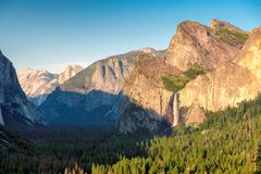Yosemite National Park in California. View of Yosemite Valley from Tunnel View point at sunset, Yosemite National Park in California Royalty Free Stock Image
