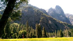 Yosemite National Park. Chapel trees landscape valley mountains Royalty Free Stock Photos