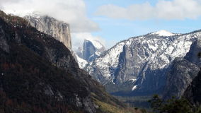 Yosemite National Park Halfdome And Valley Clouds. Halfdome With Clouds And Blue Sky Looking Up Valley stock footage
