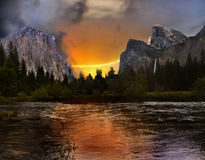 Yosemite National Park, Sunset. Yosemite Valley with mountains and Merced River at sunset Stock Photography