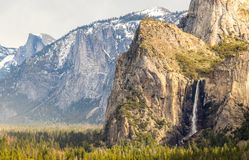 Yosemite National Park, Tunnel View - California. Waterview in Tunnel view, Yosemite national park with half dome in the background royalty free stock photo