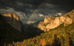 Yosemite National Park. Tunnel view of the Yosemite valley during sunset Yosemite National Park, California stock photos