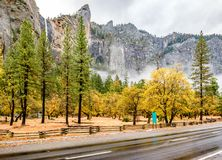 Yosemite Valley at cloudy autumn morning Royalty Free Stock Images