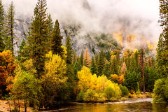 Yosemite National Park Valley and Merced River at autumn Royalty Free Stock Photo