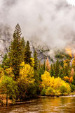 Yosemite National Park Valley and Merced River at autumn Stock Photos