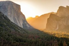 Yosemite National Park Valley at sunrise Stock Photos