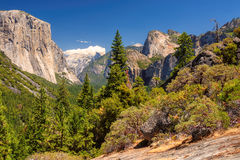 Yosemite National Park Valley from Tunnel View Royalty Free Stock Images