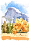 Yosemite National Park Watercolor Illustration Hand Drawn stock illustration
