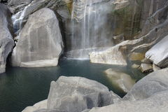 Yosemite National Park waterfall and lake Royalty Free Stock Photo