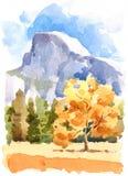 Yosemite Nationalpark Aquarell-Illustrations-Hand gezeichnet Stockfotos