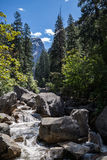 Yosemite nationalpark, Merced flod på mistslingan Arkivfoto
