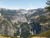 Yosemite: Nevada & Vernal Falls. Nevada and Vernal Falls and the Sierra crest from Washburn Overlook stock photos