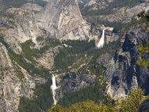 Yosemite: Nevada & Vernal Falls, close. Closer view of Nevada and Vernal Falls in Yosemite National Park stock photo