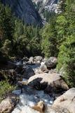 Yosemite park narodowy, Merced rzeka przy mgła śladem Obraz Royalty Free