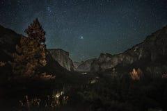 Yosemite przy nocą Fotografia Stock