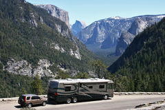 Yosemite RV Trip. An RV parked overlooking scenic Yosemite Valley Stock Image