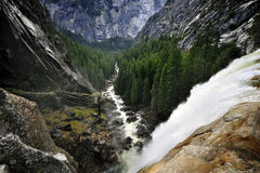 Yosemite& x27;s Vernal Falls Crash in a Spray of Sunlight royalty free stock images