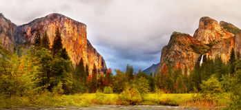 Yosemite Sunset Panorama Royalty Free Stock Photography