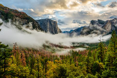 Yosemite-Tal am bewölkten Herbstmorgen stockbild