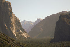Yosemite Valley. View of Yosemite Valley, iconic Half Dome, and El Capitan.  Places Carved by glaciers Stock Photo