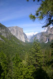 Yosemite Valley. View of Yosemite Valley including El Capitan, the falls and in the distance, Half Dome Stock Photo
