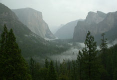 Yosemite Valley. From above during a storm Royalty Free Stock Photography