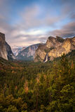 Yosemite Valley and Bridalveil Fall at sunset stock photography