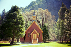 Yosemite Valley Chapel lomo. Yosemite Valley Chapel, California, USA. Lomography style effect processing Royalty Free Stock Image