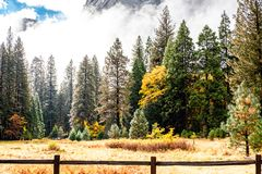 Yosemite Valley at cloudy autumn morning Stock Image