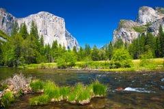 Yosemite Valley with El Capitan Rock and Bridal Veil Waterfalls royalty free stock photos