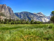 Yosemite Valley. Grass mountains field Royalty Free Stock Images