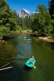 Yosemite valley with a group of kayakers stock photo