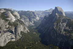 Yosemite Valley & Half Dome. Clear summer day at Yosemite Valley and Half Dome Royalty Free Stock Photography