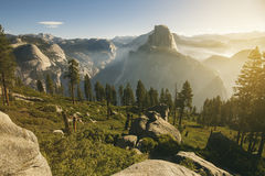 Yosemite valley with half dome during morning sunrise royalty free stock image