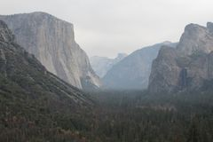 Yosemite Valley on a hazy day royalty free stock images