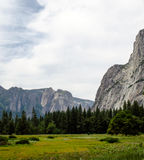 Yosemite Valley. Meadow near Half Dome. Beautiful valley floor with amazing granite mountain views Royalty Free Stock Images