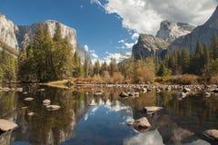 Yosemite Valley Merced River Reflection. Serene autumn morning Royalty Free Stock Image