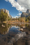 Yosemite Valley Merced River Reflection. Serene autumn morning Royalty Free Stock Photography