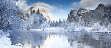 Yosemite Valley Merced River. Serene winter scene Royalty Free Stock Photo