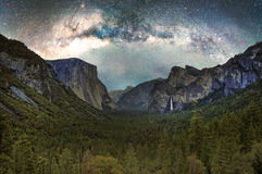 Yosemite Valley with the Milky Way. Yosemite Valley as seen from the main overlook at night with the Milky Way royalty free stock image
