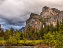 Yosemite Valley Mountains Falls, US National Parks. Scenic landscape and mountains in Yosemite Valley. Yosemite National Park, California. U.S. National Parks stock image